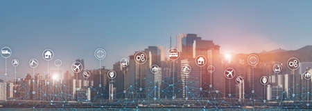 Technology Internet of things wireless communication iot concept networking. Modern city skyline double exposure mixed media.
