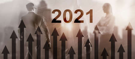 New year 2020 Financial growth graph on blurry business background.