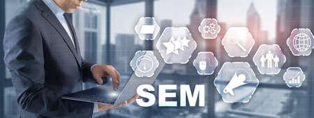 SEM Search Engine Optimization Marketing Ranking Traffic Website Technology Communication Concept. Standard-Bild