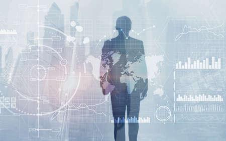 New Business intelligence BI Key performance indicator KPI Analysis dashboard transparent technology background.