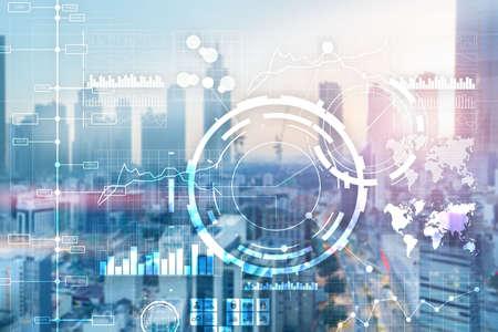 Corporate background. Business intelligence BI Key performance indicator KPI Analysis dashboard transparent blurred office background.