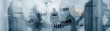 Erp Crm Hr Innovation inscriptions and icons on business background. Standard-Bild
