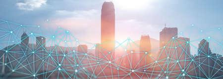 Modern City skyline Digital Wireless network internet technology. Communication concept