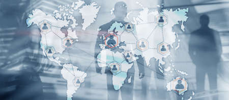 Global Outsourcing Resources Business Internet Technology Concept On city people background. Standard-Bild