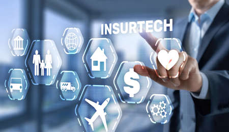 Insurtech. Health family life property insurance concept.