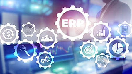 ERP system, Enterprise resource planning on blurred background. Business automation and innovation concept. Standard-Bild