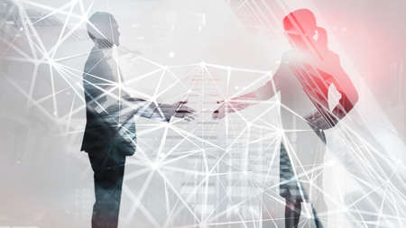 Internet technology connection, network people connection. Network community concept and social networking.