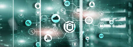 Online data security system. Protecting your business data. Standard-Bild
