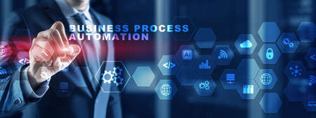 Business process automation BPA. Mexed Media Background.