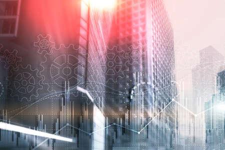 Gears and stock market. 3D illustration. Fintech Investment Financial Internet Technology Concept.