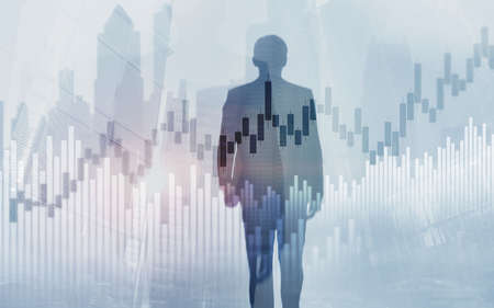 Stock market trading concept with silhouettes background.
