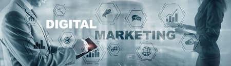 Inscription Digital marketing on website header banner background.