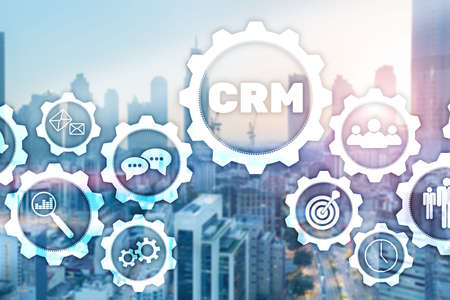 CRM Customer Management Analysis Service Concept. Graphics on blurred office background. Standard-Bild