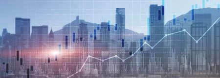 Financial concept investment graph chart diagram double exposure city view skyline. Reklamní fotografie