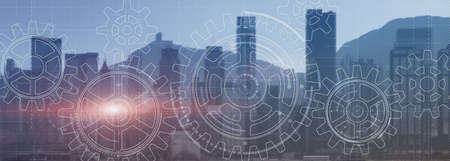 Gears Cogwheel Engineering Automation solution teamwork cooperation business concept. City view website header banner concept.