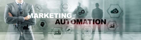 Business Marketing automation concept. Technology Process System Finance on banner. 版權商用圖片