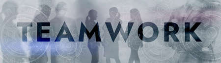 Silhouette of business team. Teamwork concept on Gear Background.