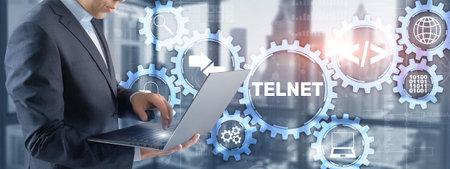 Telnet Virtual terminal client. Internet and Network concept. Stock Photo