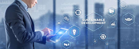 Sustainable development, ecology and environment protection concept. Renewable energy and natural resources. Standard-Bild