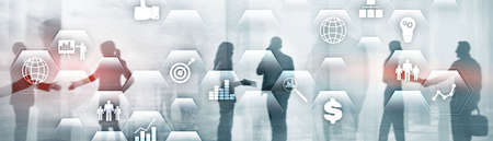 Business finance concept. Application icons ERP Enterprise resources plananing. 스톡 콘텐츠