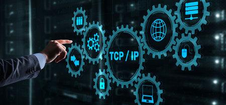 TCP IP. Network data transmission model on Server Rack Background. Archivio Fotografico