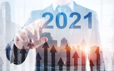 2021 Growth up arrows on futuristic abstract background. Investing o business concept.