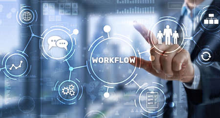 Workflow Repeatability Systematization Buisness Process. Business Technology Internet 免版税图像