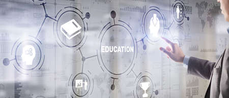 E learning Education Internet Webinar Online courses concept Banque d'images
