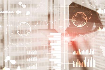 Business modern technology. BI Business intelligence concept on virtual screen