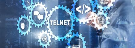 Telnet Virtual terminal client. Internet and Network concept. Banque d'images