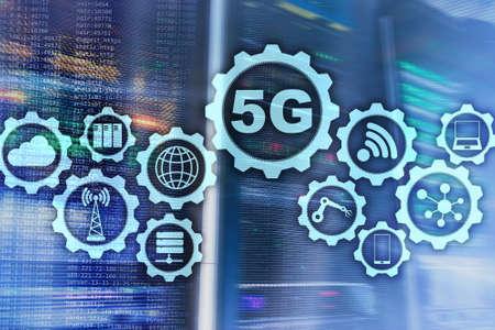 5G Network, 5G internet Connection Concept in digital background. Smart communication network concept.