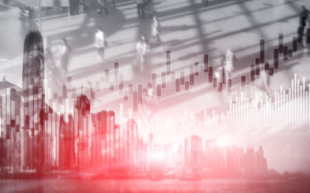 Stock market trading concept with silhouettes background