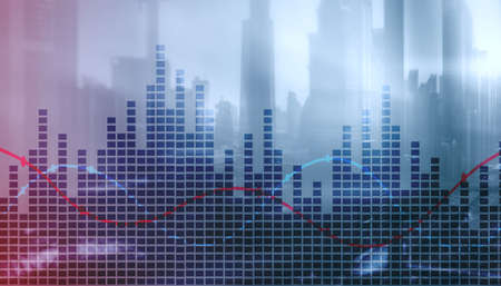 Universal Finance Business background. Diagrams on city office background Stock fotó