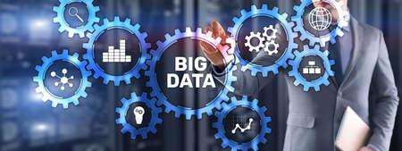 Big data analytics business technology concept. Mixed media