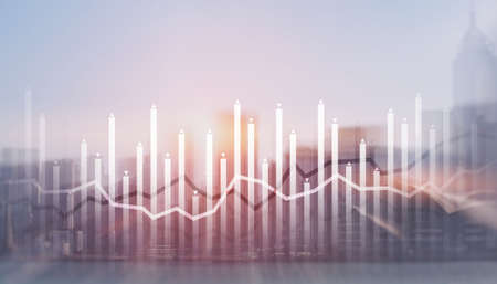Histogram and lines economic chart on modern architecture background