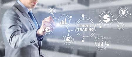 Inscription Forex Trading on Virtual Screen. Business Stock market concept 版權商用圖片