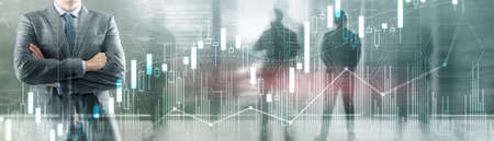 Stock Market on cityscape and silhouettes people background 版權商用圖片