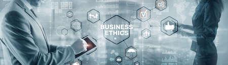 Business man writing business ethic concept on virtual screen 版權商用圖片