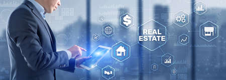 Real estate investment. Businessman pressing on virtual screens