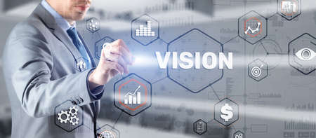 Vision. Business people and modern city on background. Virtual screen