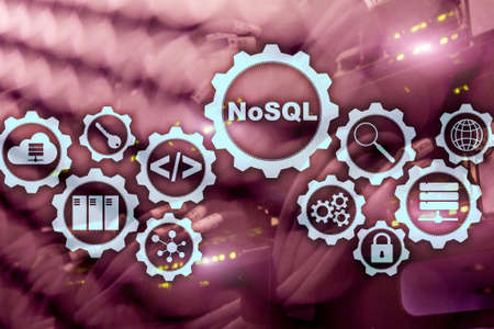 NoSQL. Structured Query Language. Database Technology Concept. Server room background. 版權商用圖片