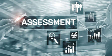 Assessment Business Concept on Modern Mixed Media Double Exposure background.