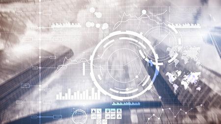 Financial dashboard with business intelligence BI. Blurred megapolis.