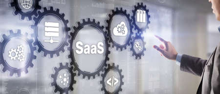SaaS, Software as a Service. Internet and networking Technology concept