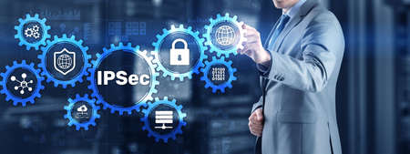 IP Security. Data Protection Protocols. Blue Technology Background. IPSec