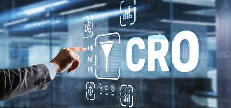 Conversion Rate Optimization. CRO Technology Finance concept Businessman pressing on a virtual 3D screen 版權商用圖片