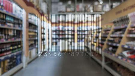Barcode Mark Market Item Concept on blurred shop background