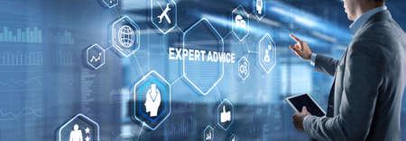 Expert advice. Businessman hand touching inscription on virtual screen Фото со стока