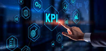 KPI Key Performance Indicator Business Internet Technology Concept on Virtual Screen Фото со стока