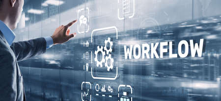 Workflow Repeatability Systematization Buisness Process. Business Technology Internet Фото со стока